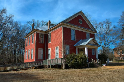 Apalachee School House Red Clapboard Two Story Morgan County GA Photograph Copyright Brian Brown Vanishing North Georgia USA 2015