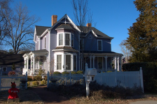 Eatonton GA Historic District Purple Lavender Queen Anne House Photograph Copyright Brian Brown Vanishing North Georgia USA 2015
