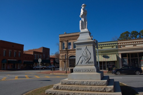 Eatonton GA Putnam County Confederate Monument Downtown Historic District Photograph Copyright Brian Brown Vanishing North Georgia USA 2015