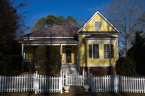 Historic Madison GA Yellow Folk Victorian House Photograph Copyright Brian Brown Vanishing North Georgia USA 2015