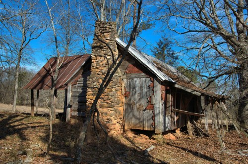 Nolan Plantation Tenant House Ruins Local Stone Chimney Photograph Copyright Brian Brown Vanishing North Georgia USA 2015