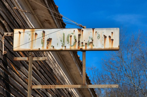 T H Nolan Store Sign Plantation Commissary Bostwick GA Morgan County Photograph Copyright Brian Brown Vanishing North Georgia USA 2015