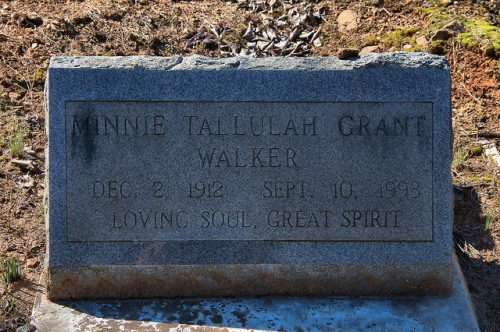 Wards Chapel AME Cemetery Minnie Tallulah Grant Walker Headstone Alice Walker's Mother Photograph Copyright Brian Brown Vanishing North Georgia USA 2015