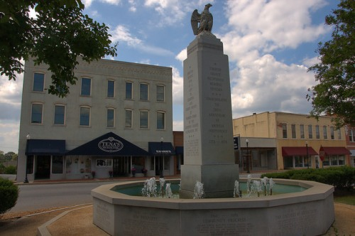 Elberton GA Bicentennial Fountain Downtown Photograph Copyright Brian Brown Vanishing North Georgia USA 2015