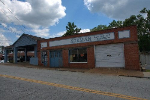 Elberton GA Norman Automotive Service Garage Photograph Copyright Brian Brown Vanishing South Georgia USA 2015