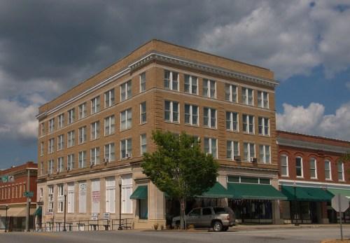 Historic Elberton GA Old Elbert County Hospital and First National Bank Building Photograph Copyright Brian Brown Vanishing North Georgia USA 2015