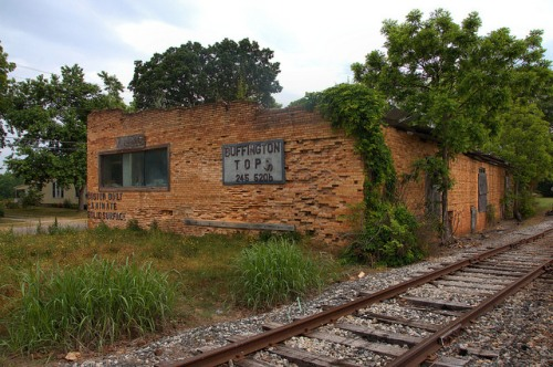Bowersville GA Hart County Old Railroad Building Photograph Copyright Brian Brown Vanishing North Georgia USA 2015