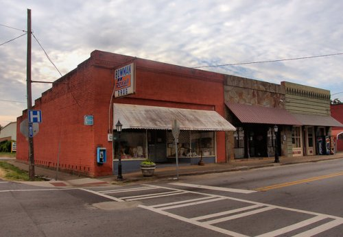 Bowman GA Elbert County Downtown Rexall Drugs SIgn Photograph Copyright Brian Brown Vanishing North Georgia USA 2015