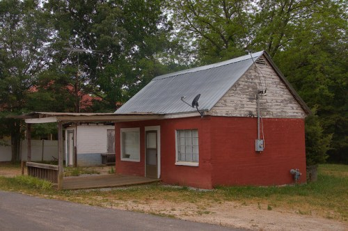 Bowman GA Elbert County Red Building Photograph Copyright Brian Brown Vanishing North Georgia USA 2015