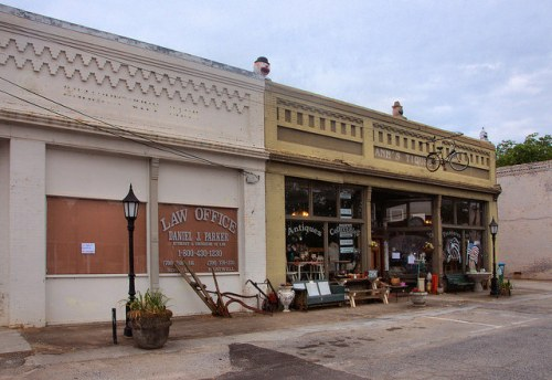 Bowman GA Historic Commercial Storefronts Anns Tiques Antique Store Photograph Copyright Brian Brown Vanishing North Georgia USA 2015