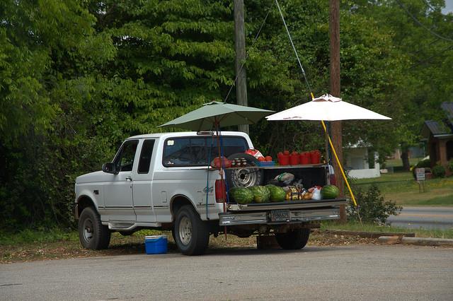 Danielsville GA Madison County Truck Farmer Produce Selling Photograph Copyright Brian Brown Vanishing North Georgia USA 2015