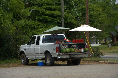 Danielsville GA Madison County Truck Farmer Produce Selling Photograph Copyright Brian Brown Vanishing North Georgia USA 2015