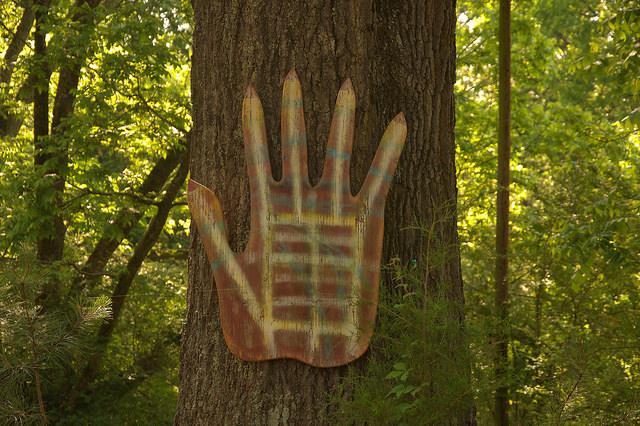 Folk Art House Carlton GA Madison County Outsider Art Red Hand on Tree Photograph Copyright Brian Brown Vanishing North Georgia USA 2015