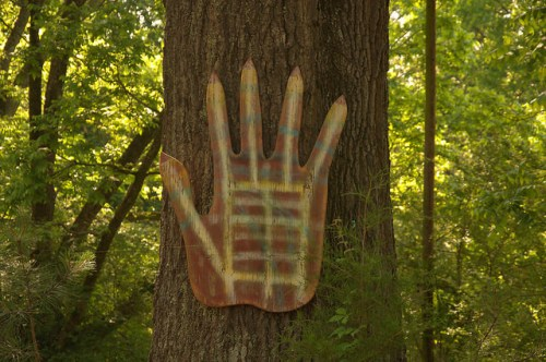 Folk Art House Carlton GA Madison County Outsider Art Red Hand on Tree Photograph Copyright Brian Brown Vanishing North Georgia USA 2015