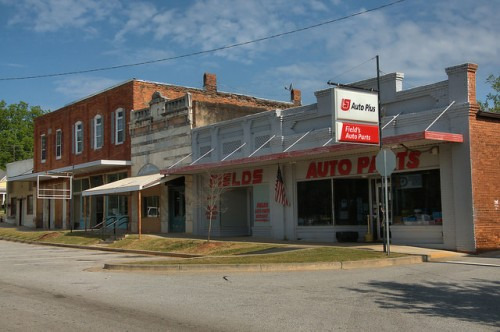 Historic Downtown Comer GA Fields Auto Parts Photograph Copyright Brian Brown Vanishing North Georgia USA 2015