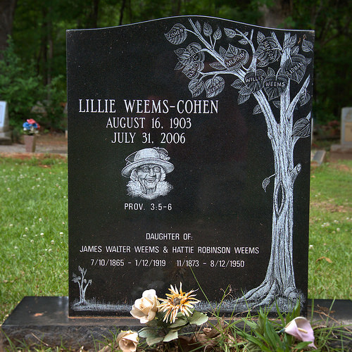 Historic Twin Oak Baptist Church African American Lillie Weems Cohen Family Tree Headstone Photograph Copyright Brian Brown Vanishing North Georgia USA 2015