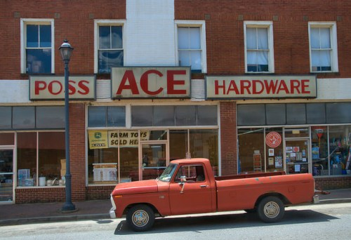 Historic Washington GA Wilkes County Poss Ace Hardware Classic Ford Truck Photograph Copyright Brian Brown Vanishing North Georgia USA 2015