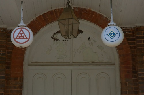 Washington GA Lafayette Lodge Masonic Hall Light Globes Cyphers Photograph Copyright Brian Brown Vanishing North Georgia USA 2015