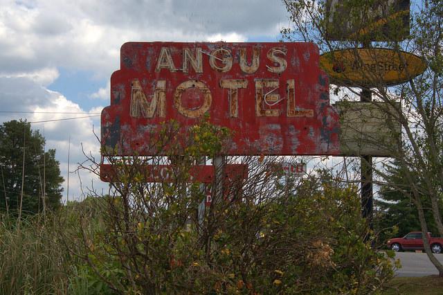 Washington GA Wilkes County Angus Motel Sign Red Art Deco Photograph Copyright Brian Brown Vanishing North Georgia USA 2015