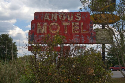 Washington GA Wilkes County Angus Motel Sign Red Art Deco Photograph Copyright Brian Brown Vanishing North Georgia USA 2015