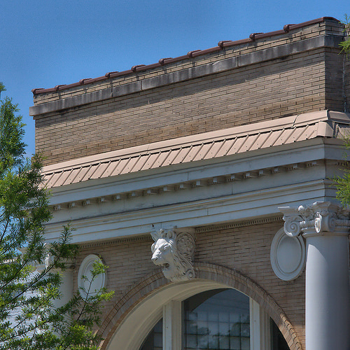 Historic Downtown Thomson GA Bank Architectural Details Lion Head Photograph Copyright Brian Brown Vanishing North Georgia USA 2015