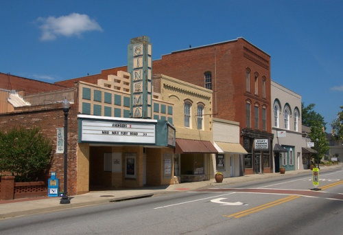 Historic Downtown Thomson GA McDuffie County Main Street Storefronts Twin Cinema Photograph Copyright Brian Brown Vanishing North Georgia USA 2015