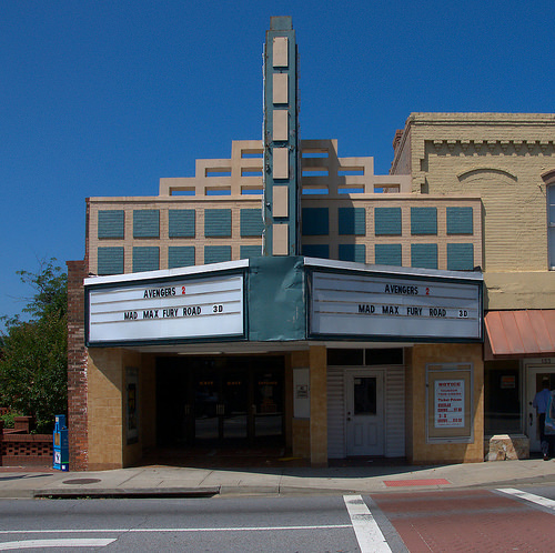 Historic Downtown Thomson GA McDuffie County Martin Theatre Twin Cinema Current Run Movies Photograph Copyright Brian Brown Vanishing North Georgia USA 2015