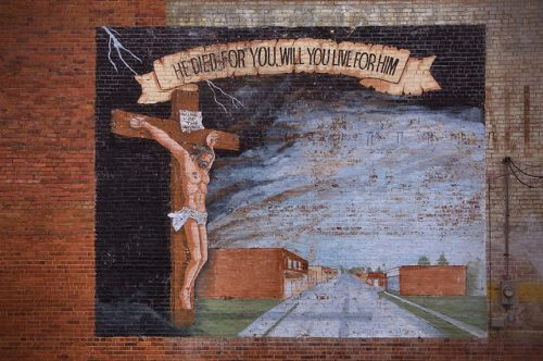 Canon GA Downtown Mural of Jesus Photograph Copyright Brian Brown Vanishing North Georgia USA 2015