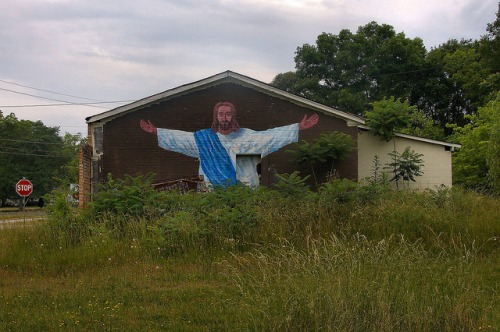 Canon GA Jesus Mural Photograph Copyright Brian Brown Vanishing North Georgia USA 2015
