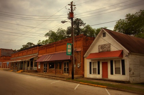 Historic Canon GA Depot Street Storefronts Photograph Copyright Brian Brown Vanishing North Georgia USA 2015