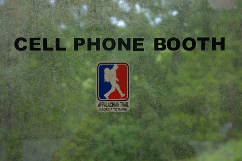 Cell Phone Booth at Mountain Crossings Walasi Yi Center Appalachian Trail Blood Mountain GA Photograph Copyright Brian Brown Vanishing North Georgia USA 2015