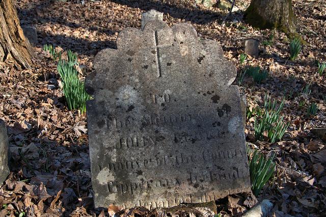 Locust Grove Oldest Catholic Cemetery in Georgia Sharon Taliaferro County Broken Headstone Photograph Copyright Brian Brown Vanishing North Georgia USA 2016