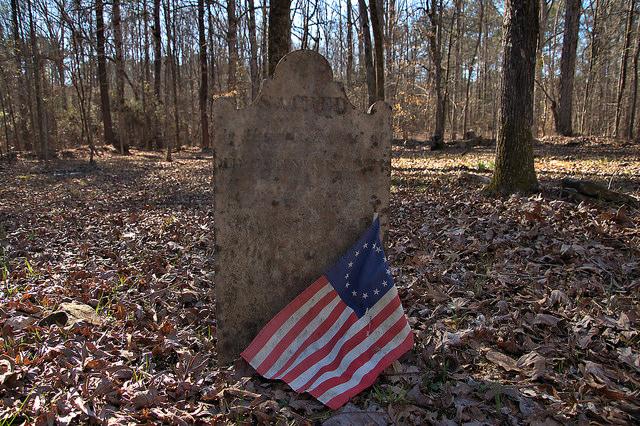 Locust Grove Oldest Catholic Cemetery in Georgia Sharon Taliaferro County Headstone with Reolutionary War Flag Photograph Copyright Brian Brown Vanishing North Georgia USA 2016