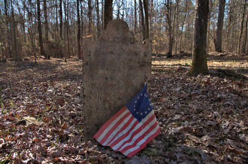 Locust Grove Oldest Catholic Cemetery in Georgia Sharon Taliaferro County Headstone with Reolutionary War Flag Photograph Copyright Brian Brown Vanishing North Georgia USA 2016