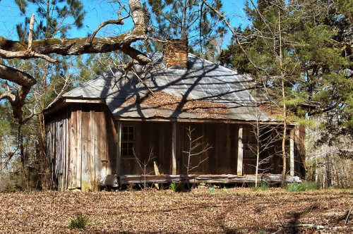 Warren County GA Board and Batten Pyramidal Roof Cabin Photograph Copyright Brian Brown Vanishing North Georgia USA 2016
