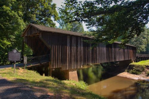 historic red oak creek covered bridge imlac woodbury ga photograph copyright brian brown vanishing south georgia usa 2016