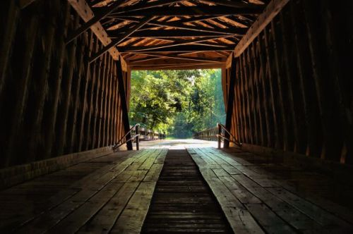 historic red oak creek covered bridge photograph copyright brian brown vanishing north georgia usa 2016