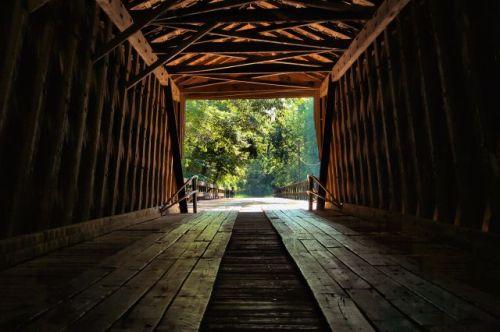 historic red oak creek covered bridge photograph copyright brian brown vanishing north georgia usa 2016