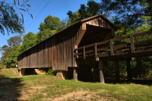 red oak creek covered bridge meriwether county ga photograph copyright brian brown vanishing north georgia usa 2016