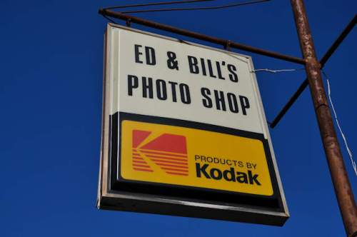 commerce-ga-ed-bills-photo-shop-kodak-sign-photograph-copyright-brian-brown-vanishing-north-georgia-usa-2017